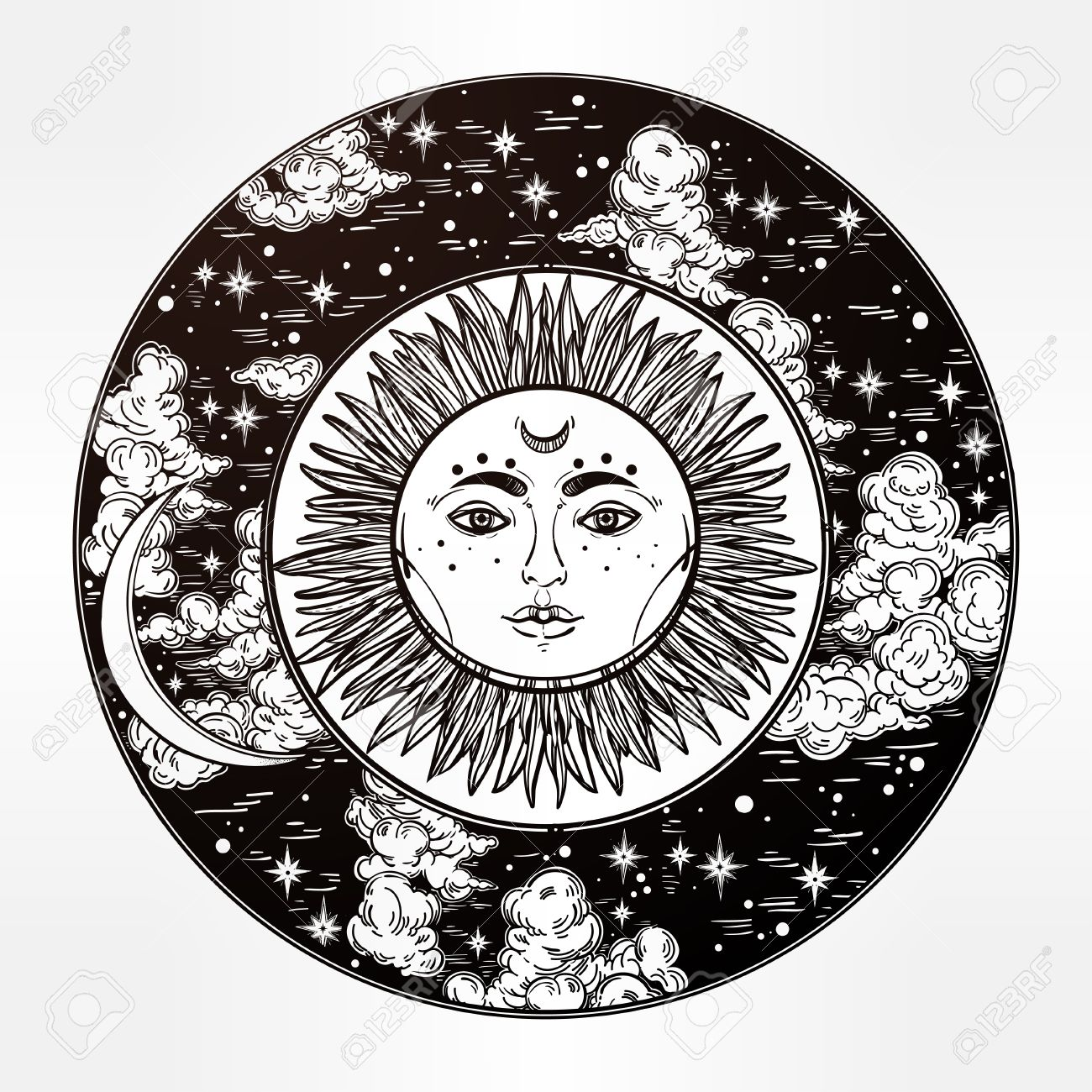 Hand drawn romantic beautiful round drawing of a night sky with sun and moon inside. Vector illustration isolated. Ethnic design, mystic tribal boho symbol for your use. Stock Vector - 59138426