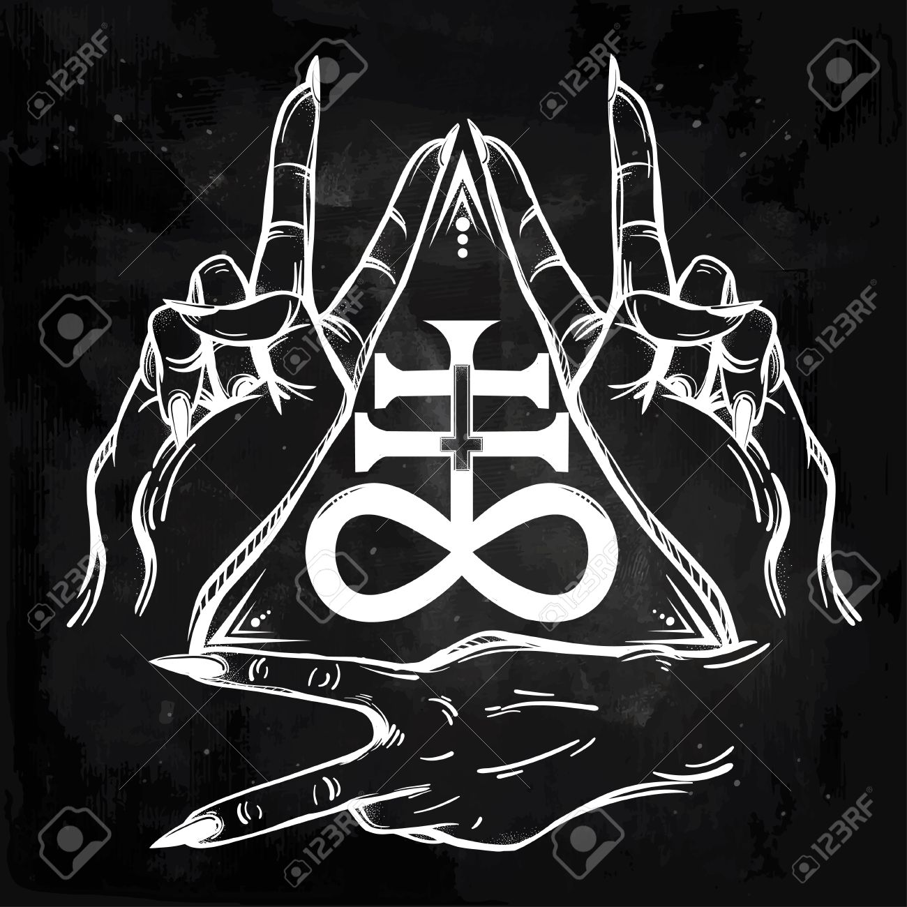 V sign hand flash tattoo fingers showing two forming a figure v sign hand flash tattoo fingers showing two forming a figure with the satanic cross biocorpaavc Choice Image