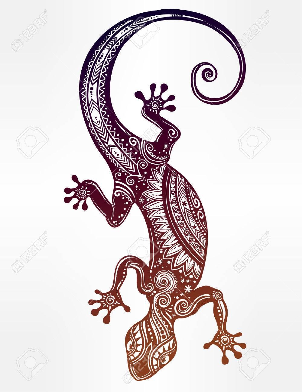 Aufwändige Gecko Eidechse In In Tattoo-Stil. Isolierte Vektor ...
