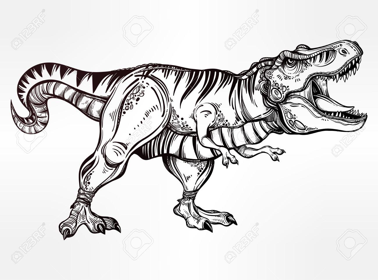 Tyrannosaurus-Dinosaurier. Sehr Detaillierte T-Rex. Isolierte Vektor ...