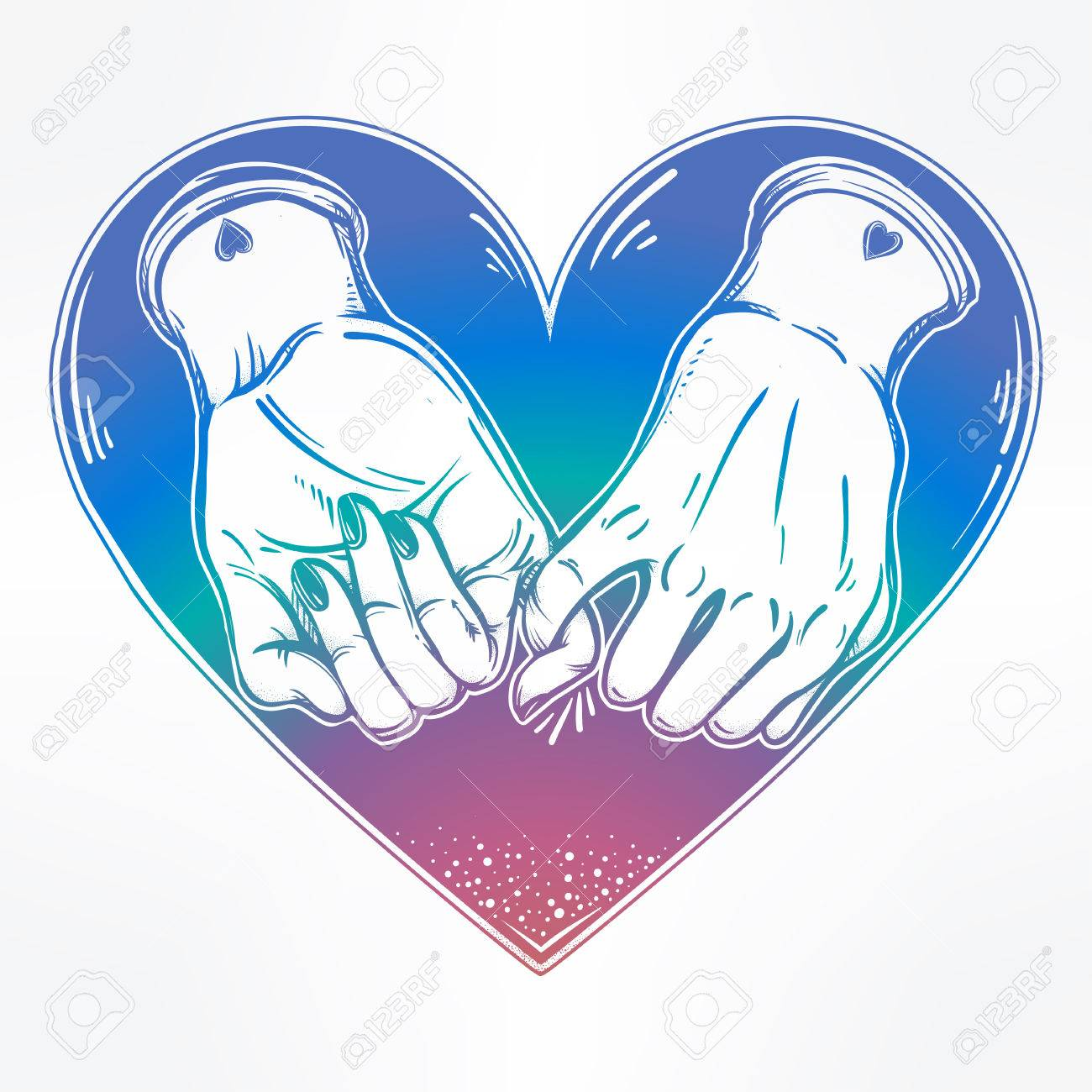 Pinky promise hand holding on the heart background vector trendy friendship symbol for your use pinky promise hand holding on the heart background vector illustration isolated minimalist tattoo buycottarizona Choice Image