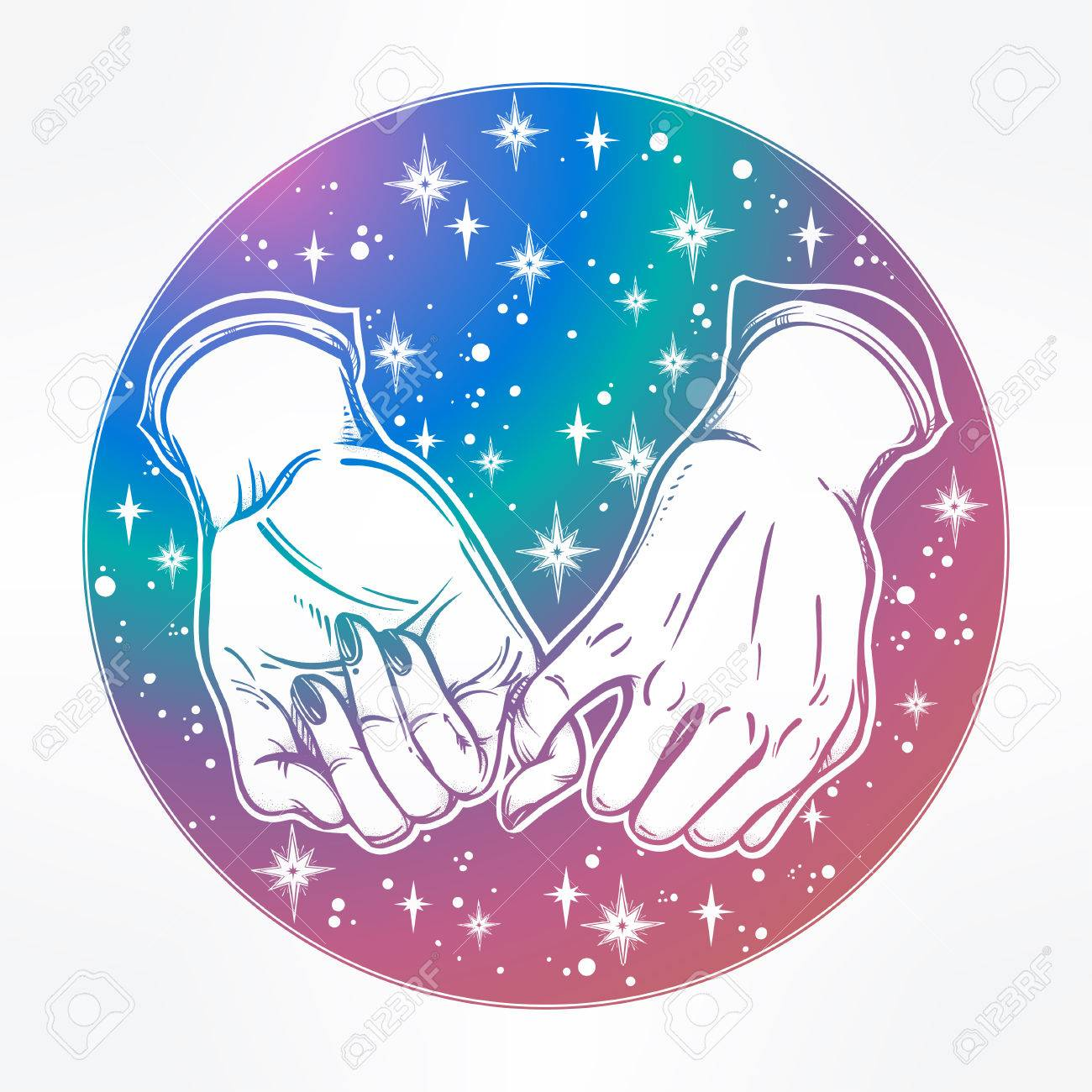 Pinky promise hand holding on the starry dreamy ethereal trendy friendship symbol for your use pinky promise hand holding on the starry dreamy ethereal background vector illustration isolated buycottarizona Choice Image