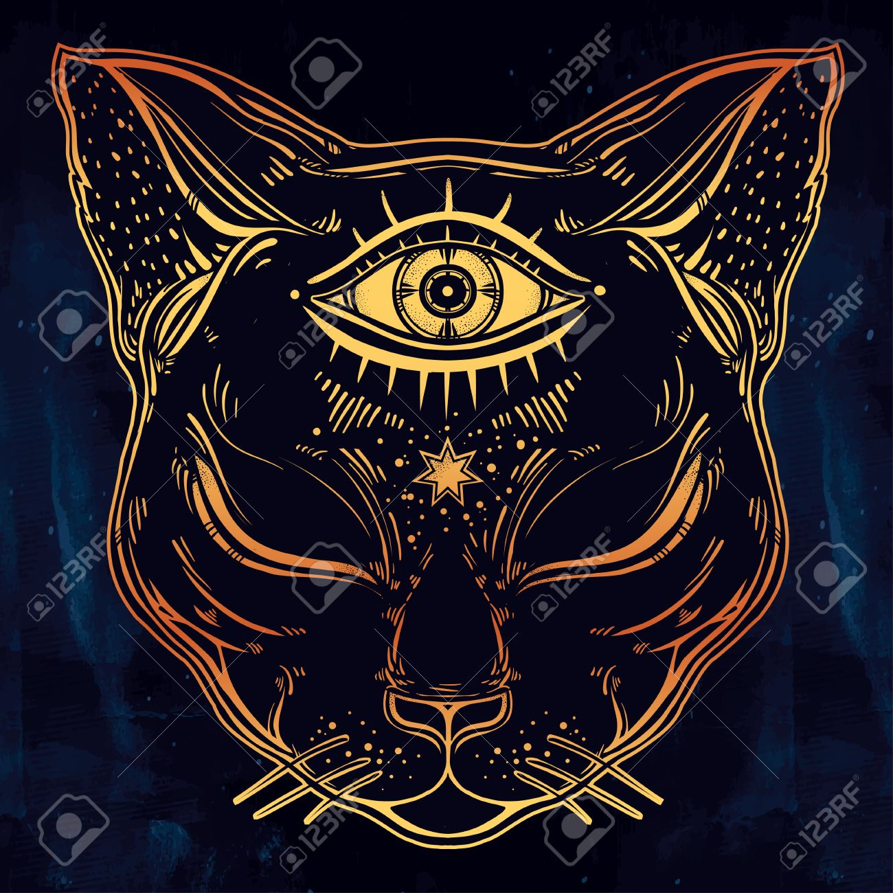 Black cat head portrait with moon and three eyes third eye is black cat head portrait with moon and three eyes third eye is open cat biocorpaavc
