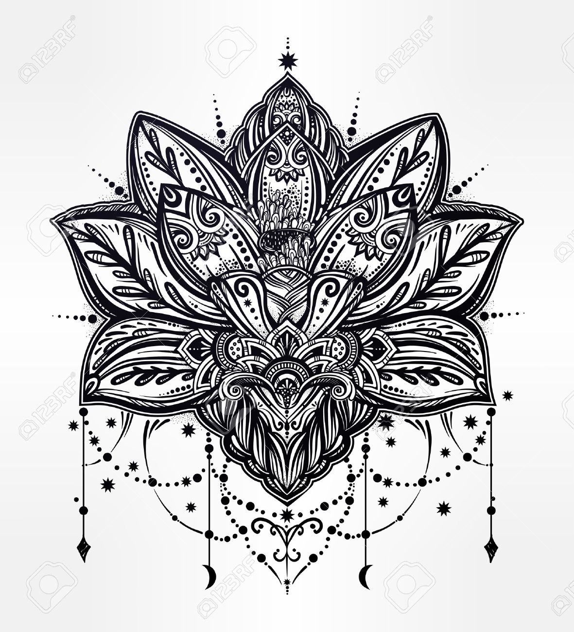 Vector ornamental Lotus flower, ethnic art, patterned Indian paisley. Hand drawn illustration. Invitation element. Tattoo, astrology, alchemy, boho and magic symbol. Banque d'images - 64034533