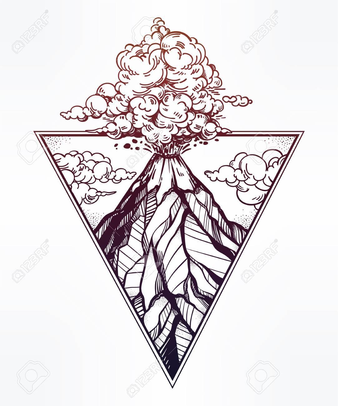 Mano Volcán Dibujado En Las Ilustraciones Marco De Triángulo ...
