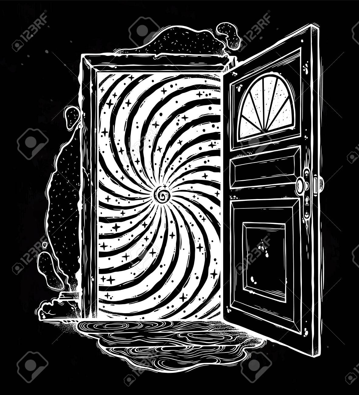 Open door with spiral sparkling illusion design on black background Stock Vector - 98946957  sc 1 st  123RF.com & Open Door With Spiral Sparkling Illusion Design On Black Background ...