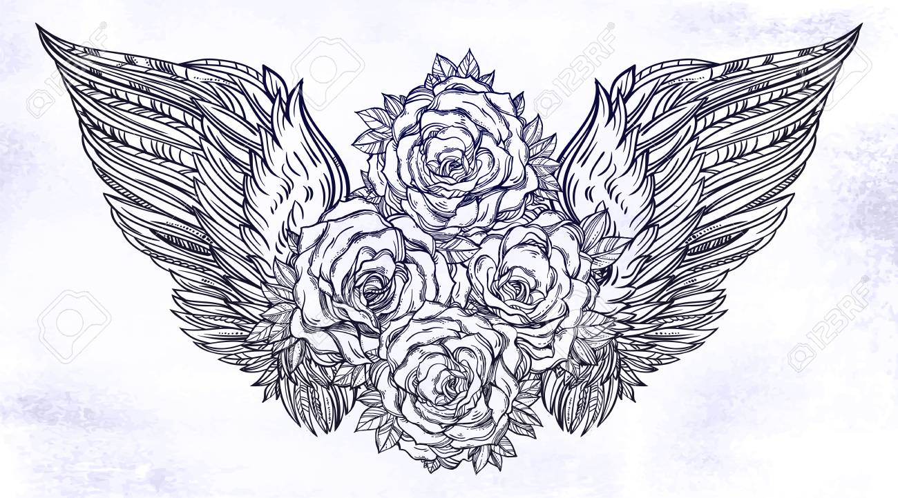 2b190410cce8d Rose flowers in bloom with angel or bird wings. Blackwork tattoo flash.  Vintage flower
