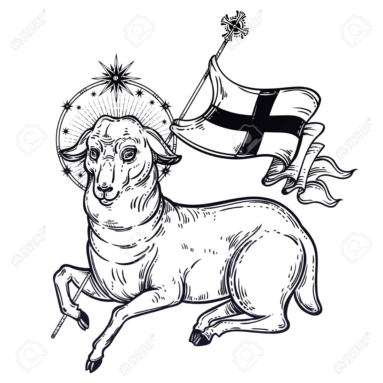 Lamb Of God Christian Symbol Royalty Free Cliparts Vectors And
