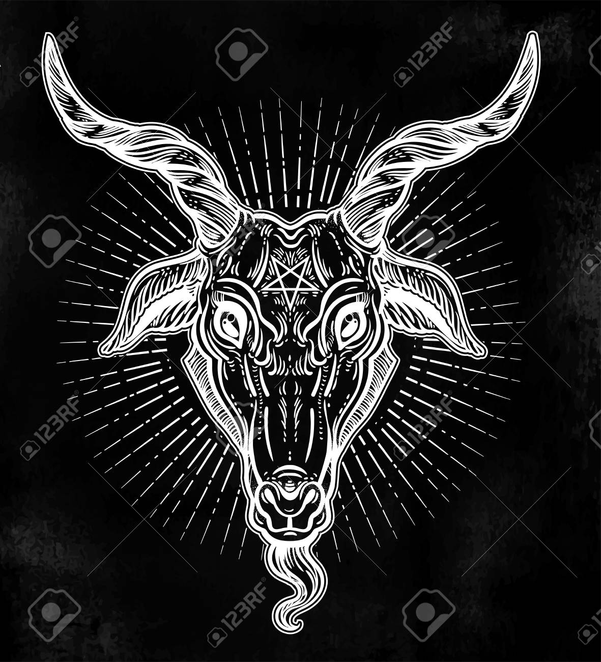 Pentagram In The Head Of Demon Baphomet Satanic Goat Head Binary