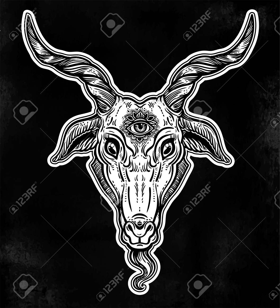 Demon Goat Baphomet With Sacred Occult Eye Satanic Goat Head