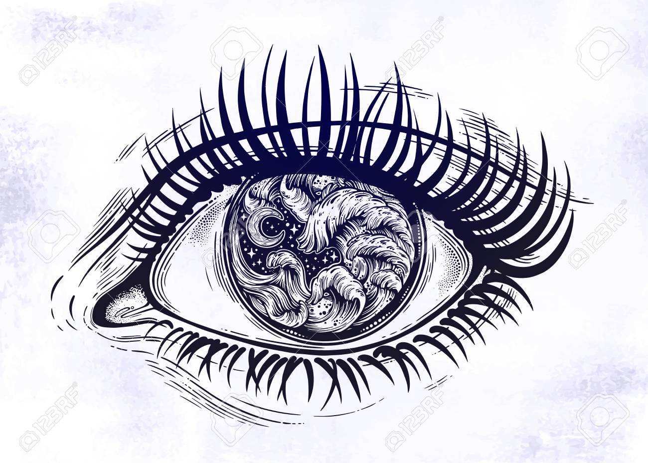 Realistic Eye With Highly Detialed Water Waves In The Night Stormy Sea With Moon Line Art