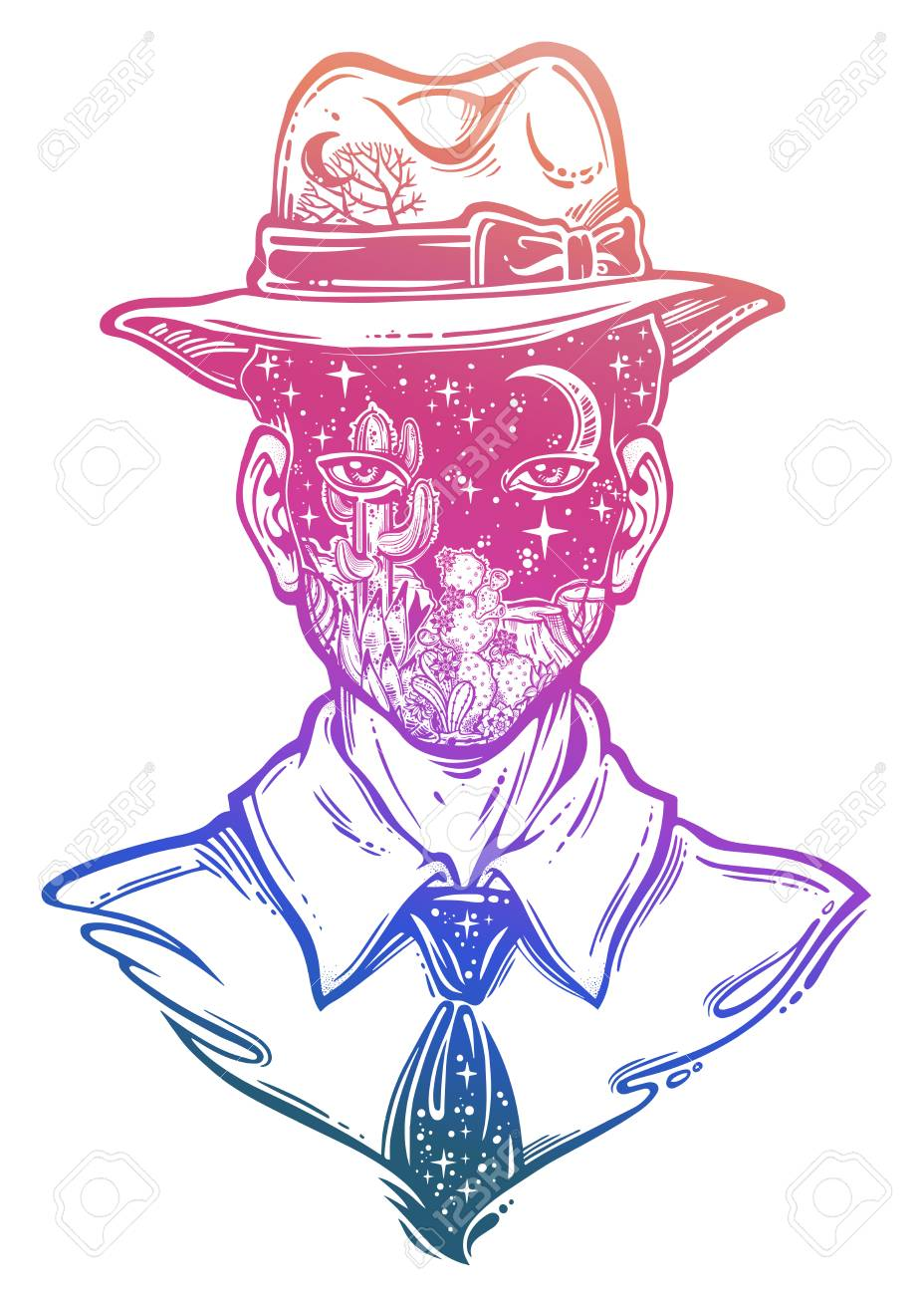 portrait of a weird man with anonymous face in a hat graphic