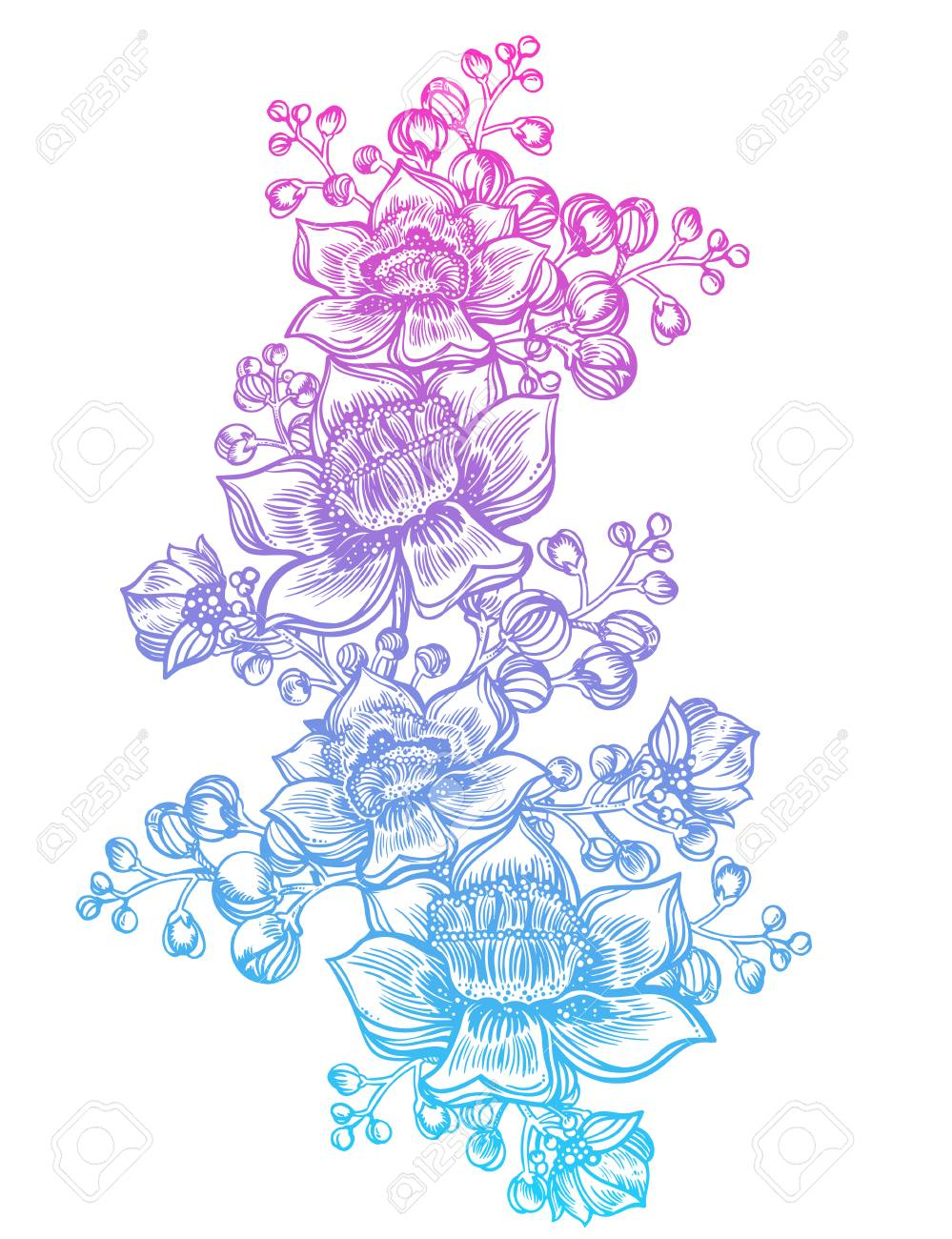Exotic tropical flowers wild summer flowers stem bouquet sketch in line art style