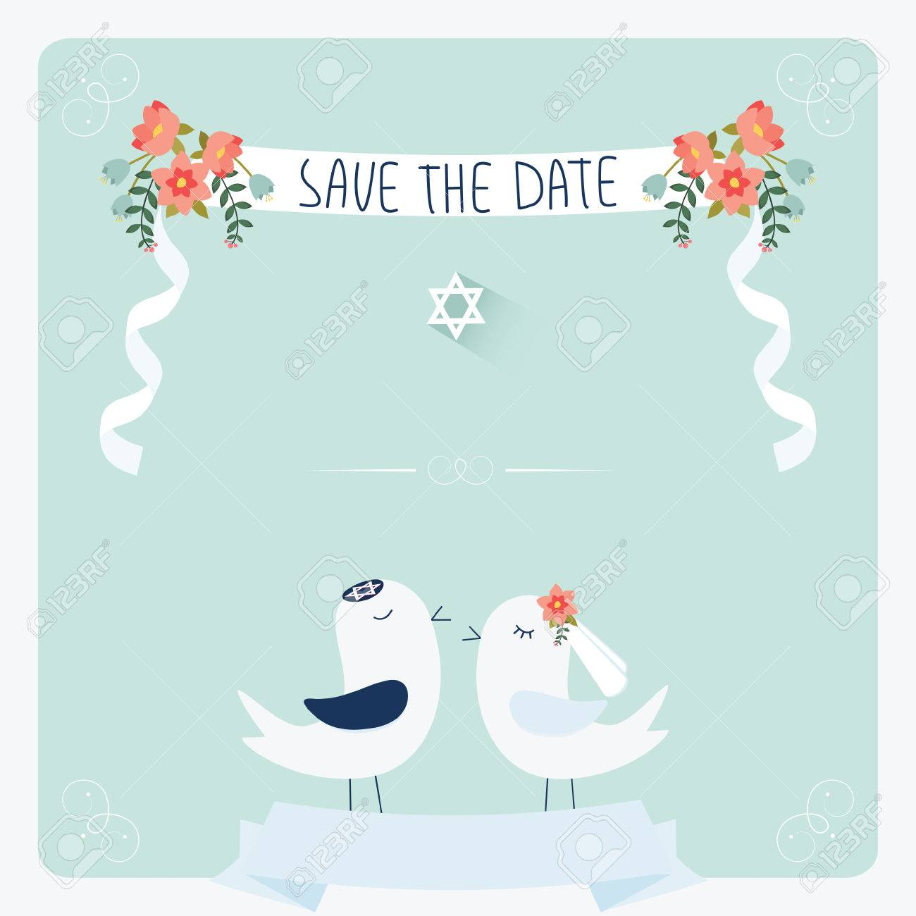 Jewish Wedding Invitation Template. Cute Couple Of Birds Under ...
