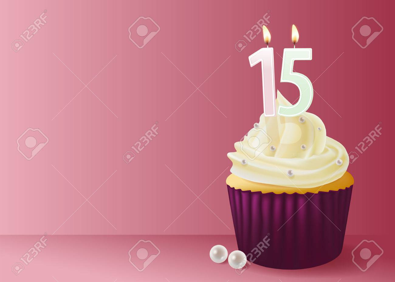 Illustration Of Cup Cake With Birthday Candle 15 Stock Vector