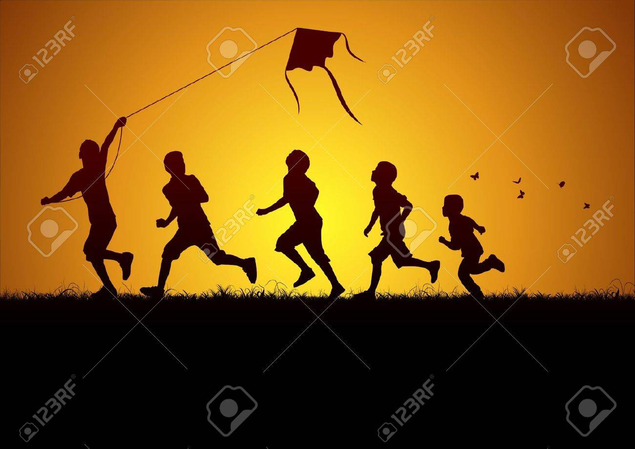 Children flying a kite - 15067332
