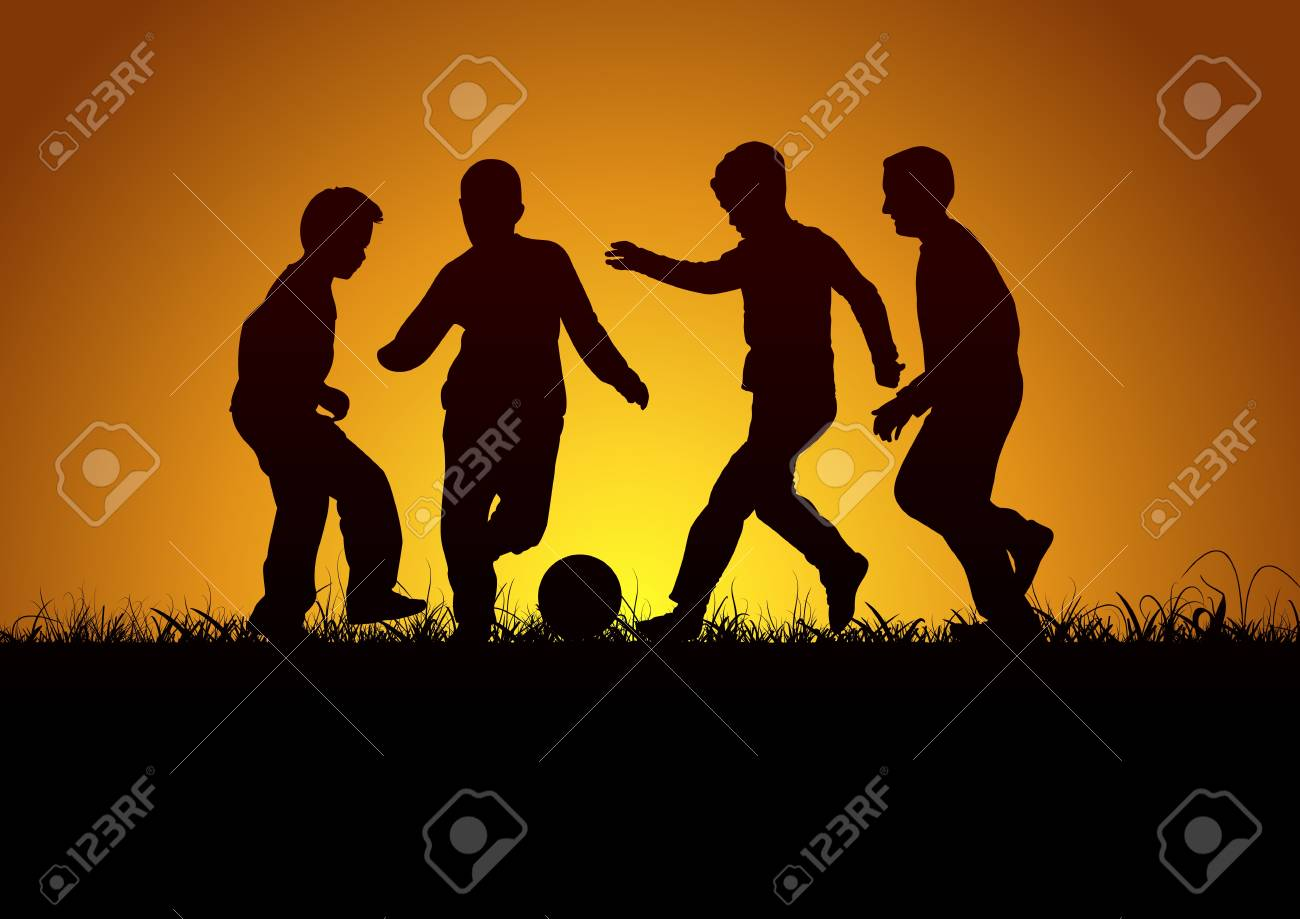Children and football Stock Vector - 15478437