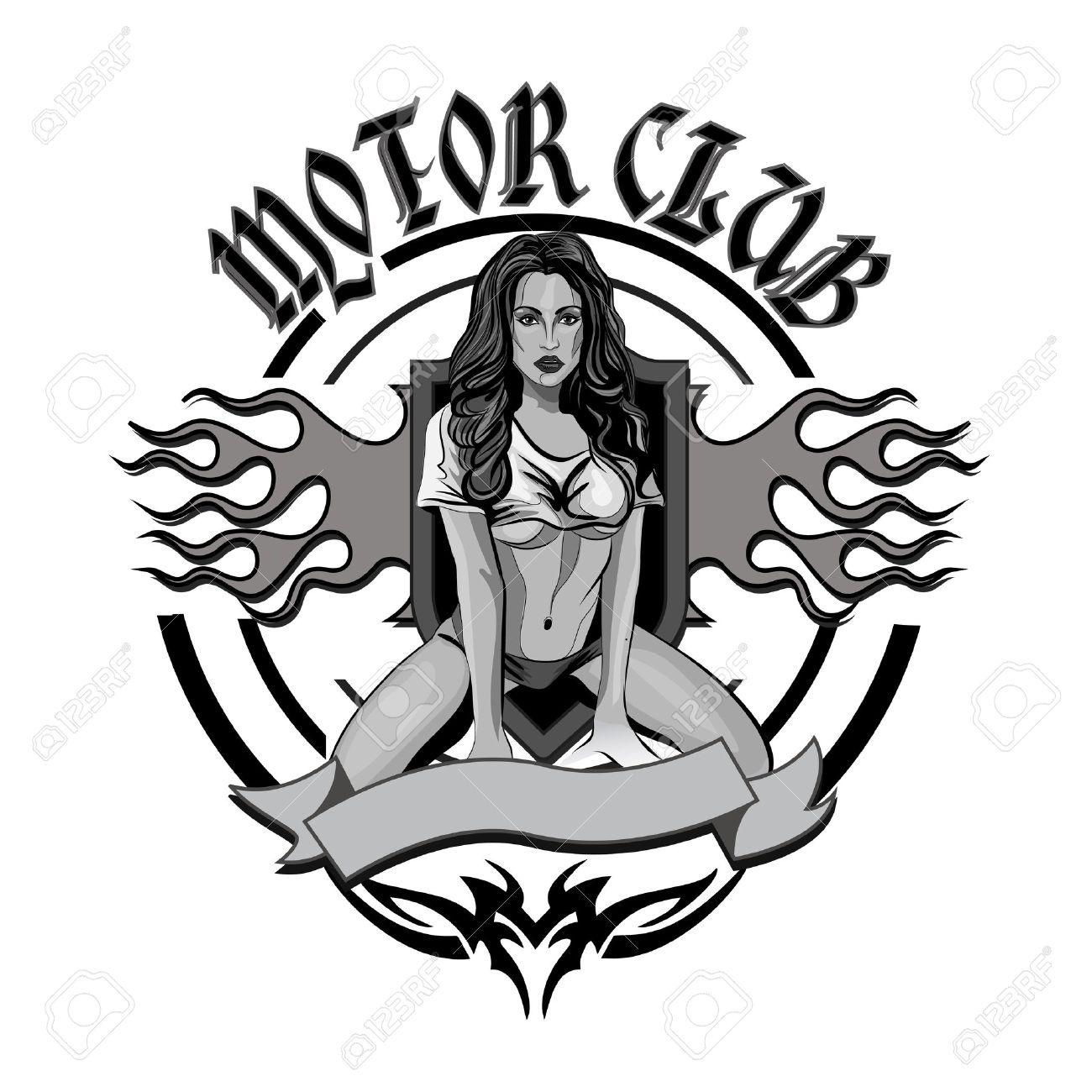 Pin up motorcycle line art jpg - Pin Up Girl Vintage Motorcycle Garage Motor Club Emblem With Sexy Girl