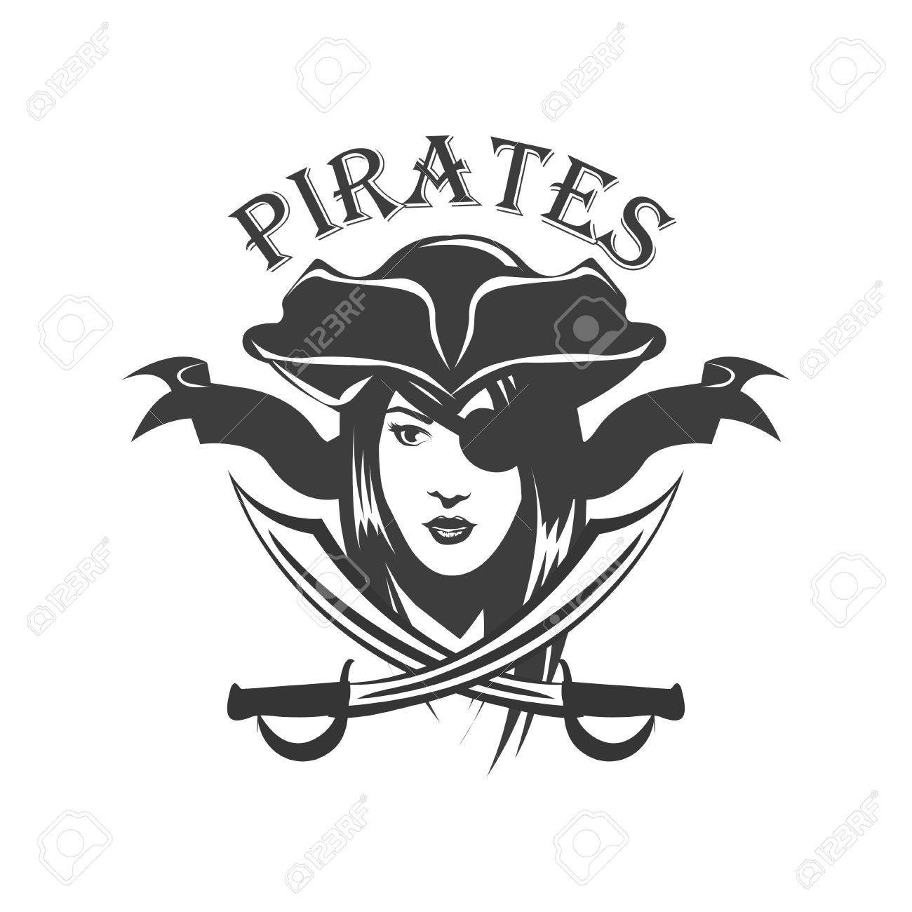 Pirate woman and crossed sabers badge - 52400205