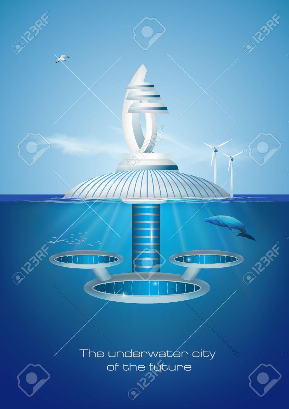 Futuristic floating eco friendly underwater city. - 53591886