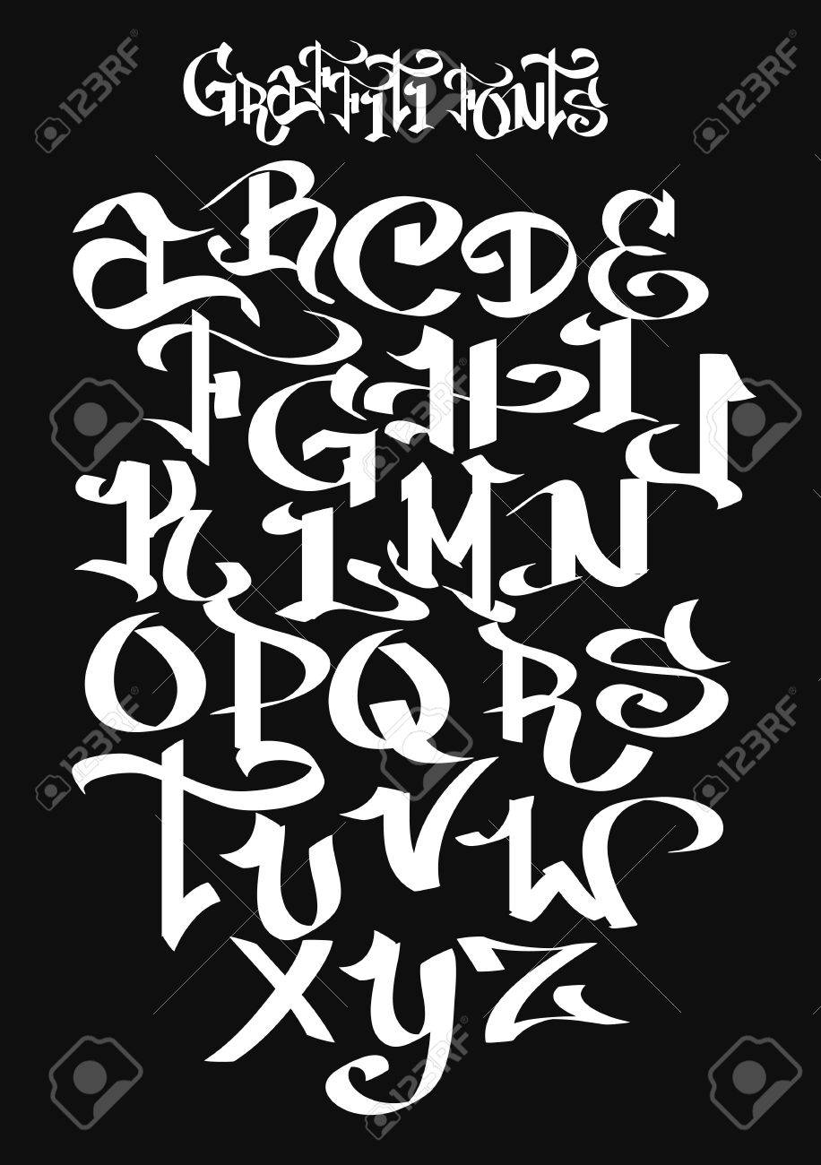 Graffiti font alphabet vector illustration stock vector 53591917