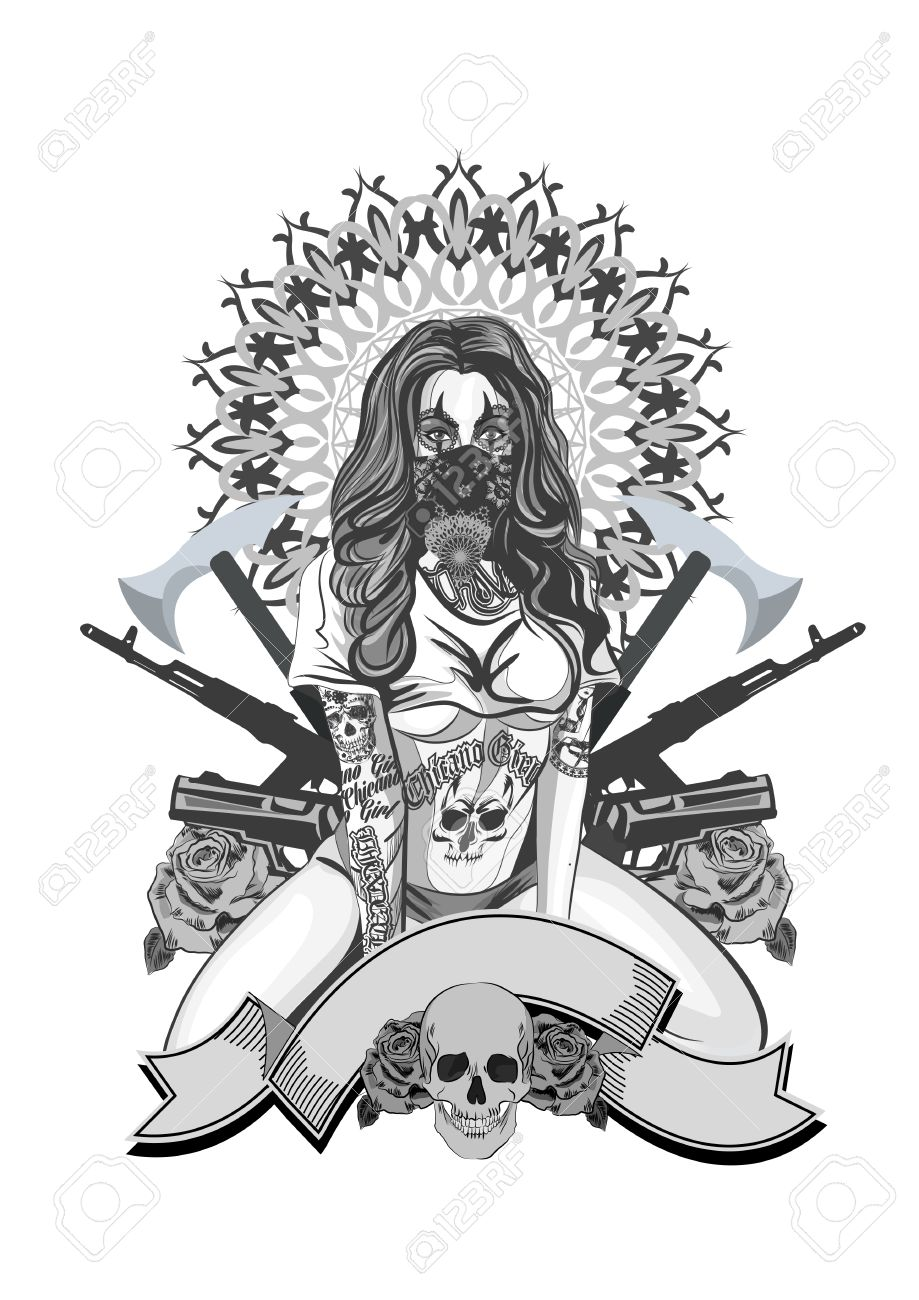 Vector Illustration Of A Beautiful Woman Chicano Tattoo Style