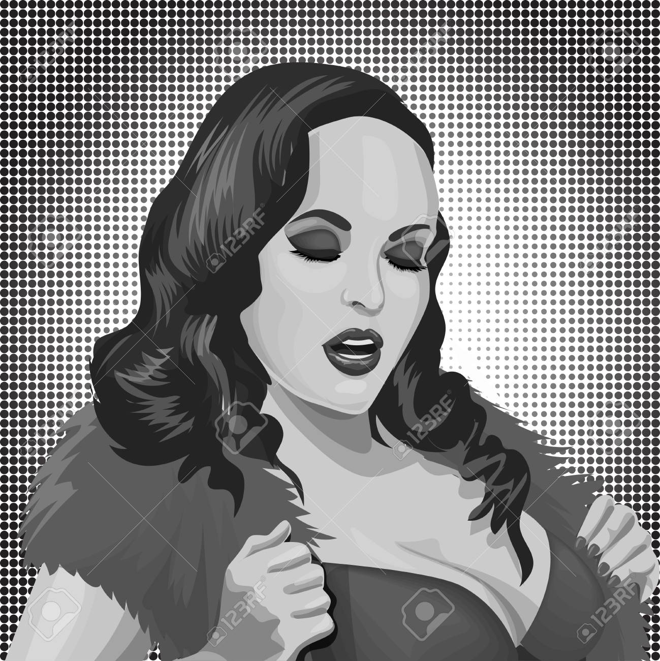 Sexy pop art woman portrait pin up hand drawn vector illustration background stock vector