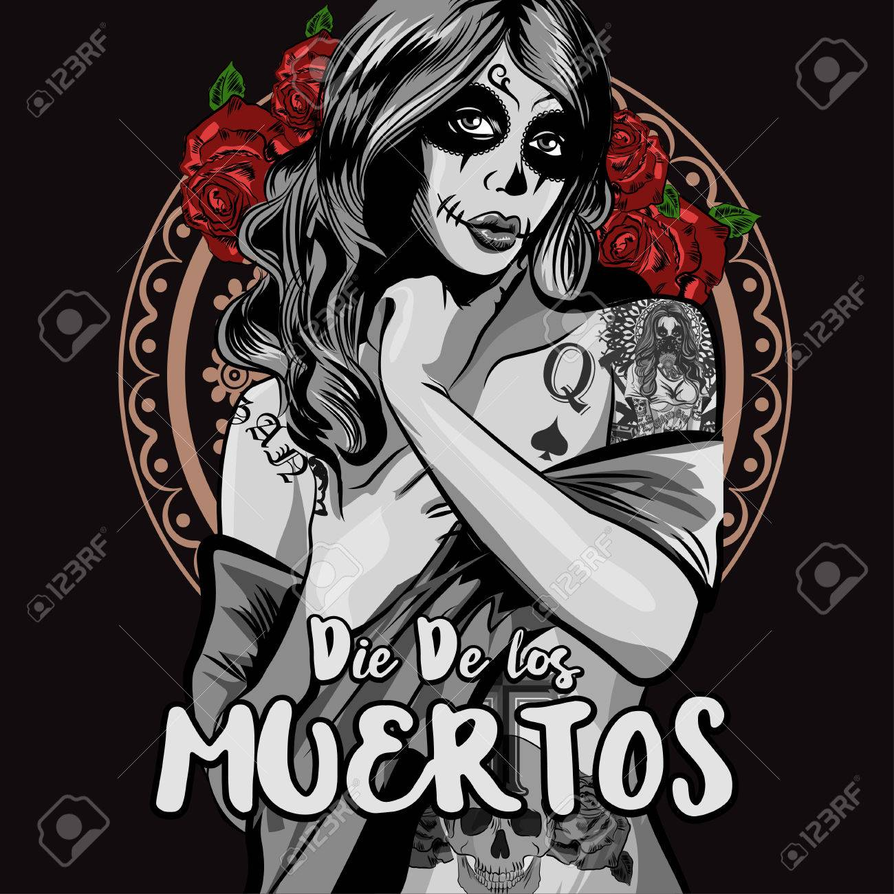 eaada5f423e Day of The Dead Woman with Sugar Skull Face Paint. Vector illustration