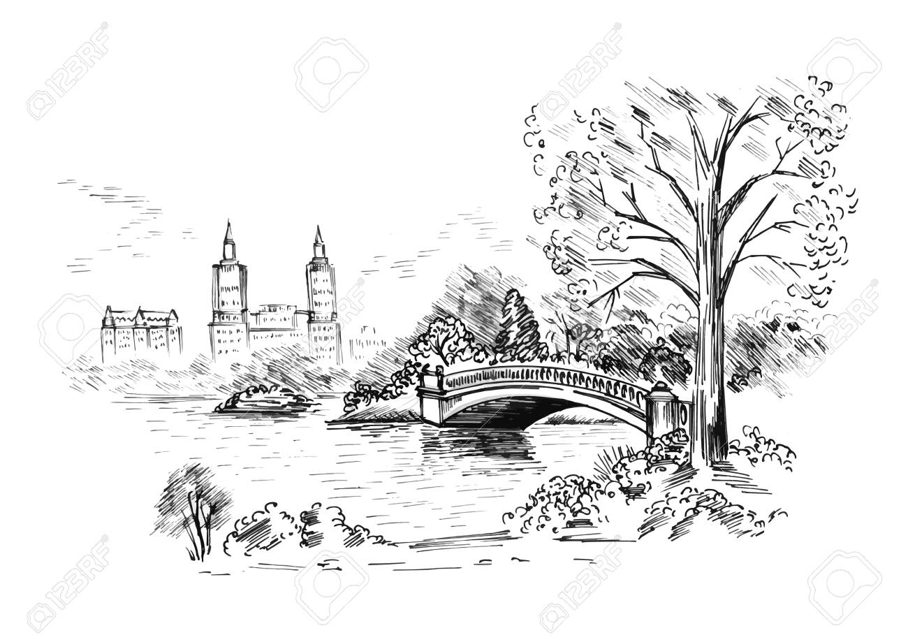 Sketch of cityscape in New York city show central park. vector illustration - 89177331