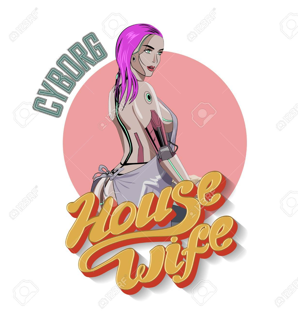 Cute Female Robot Cooking On The Kitchen Vector Illustration Stock