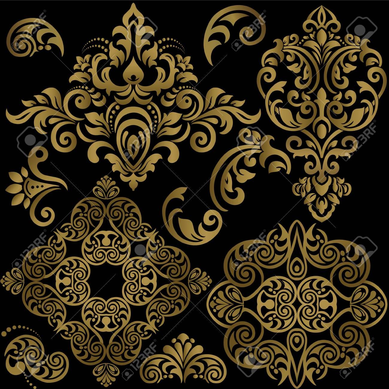 Damask floral pattern set. Vector Illustration - 126910363