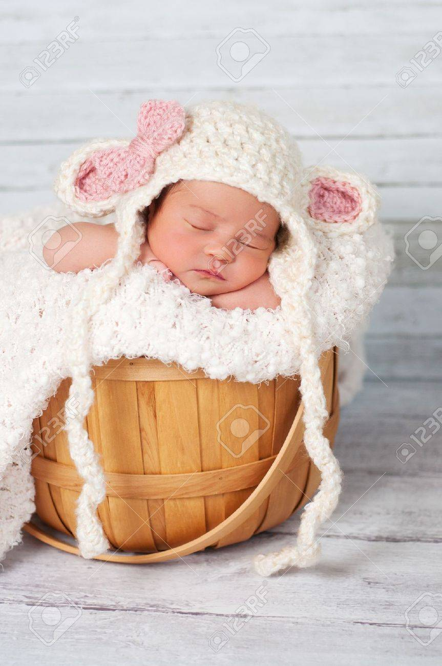 6e2c88f78af 8 day old newborn girl wearing a crocheted lamb hat and sitting in a basket  on