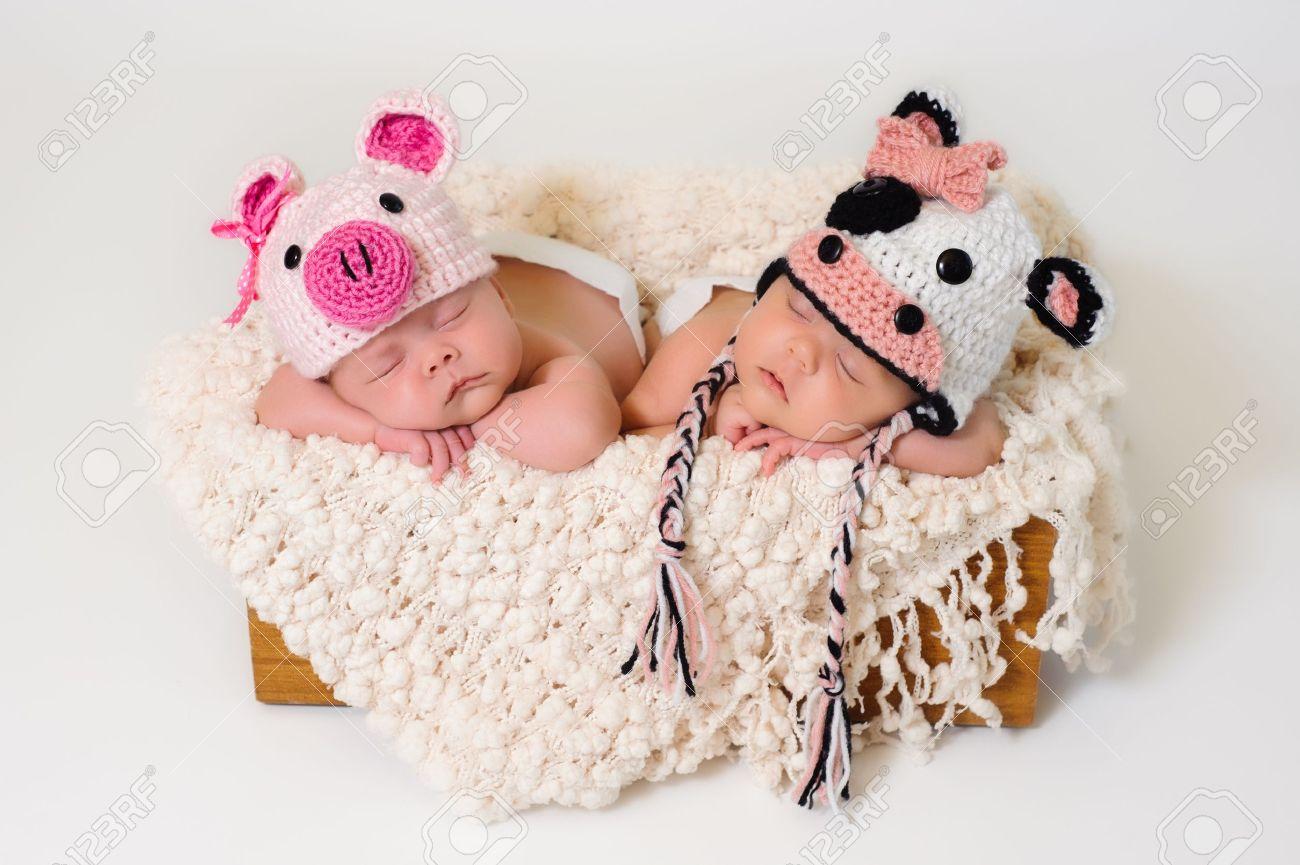 a54c7b518d4f6 Dormir fraternales gemelas bebé recién nacido lleva ganchillo cerdo y vaca  gorras Foto de archivo -