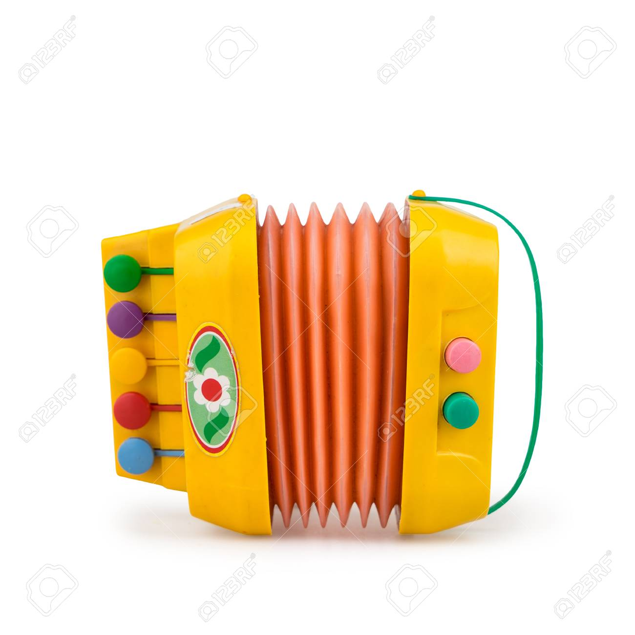 Childrens colorful toy accordion on a white background