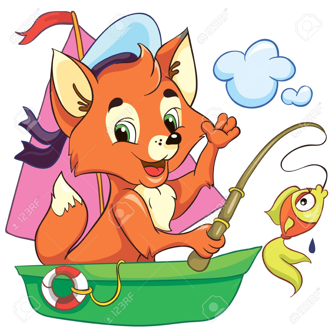 Illustration - little cartoon fox in the boat on white background Stock Vector - 18861174