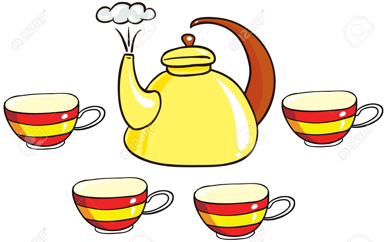 Illustration Set Of Isolated Cartoon Tea Set On White Background