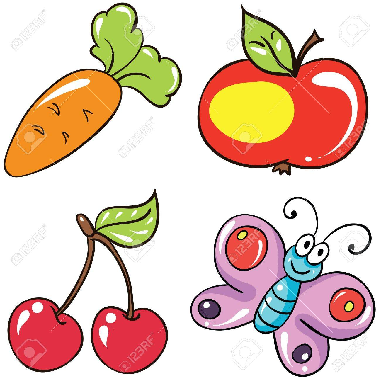 Illustration - set of isolated cartoon fruits and vegetables on white background Stock Vector - 18861211
