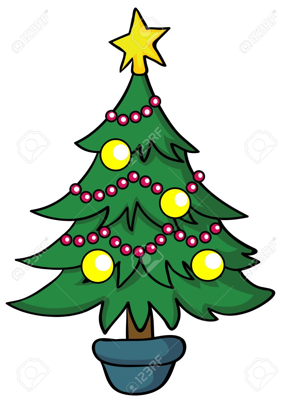 Christmas Tree Illustration.Illustration Cartoon Christmas Tree On White Background
