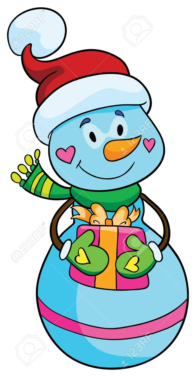 Illustration - Happy Snowman with gift in Santa Claus hat on white background Stock Vector - 18862212