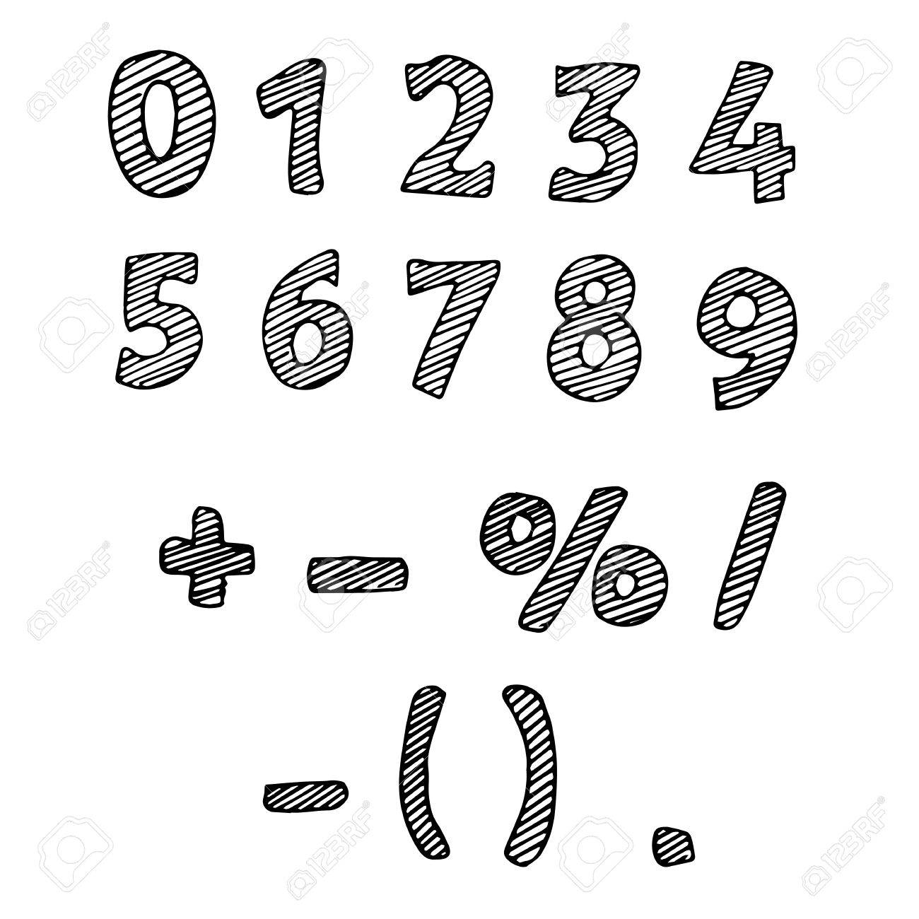 Illustration Der Gezogenen Zahlen Schwarz Weiß Nummern Lizenzfrei