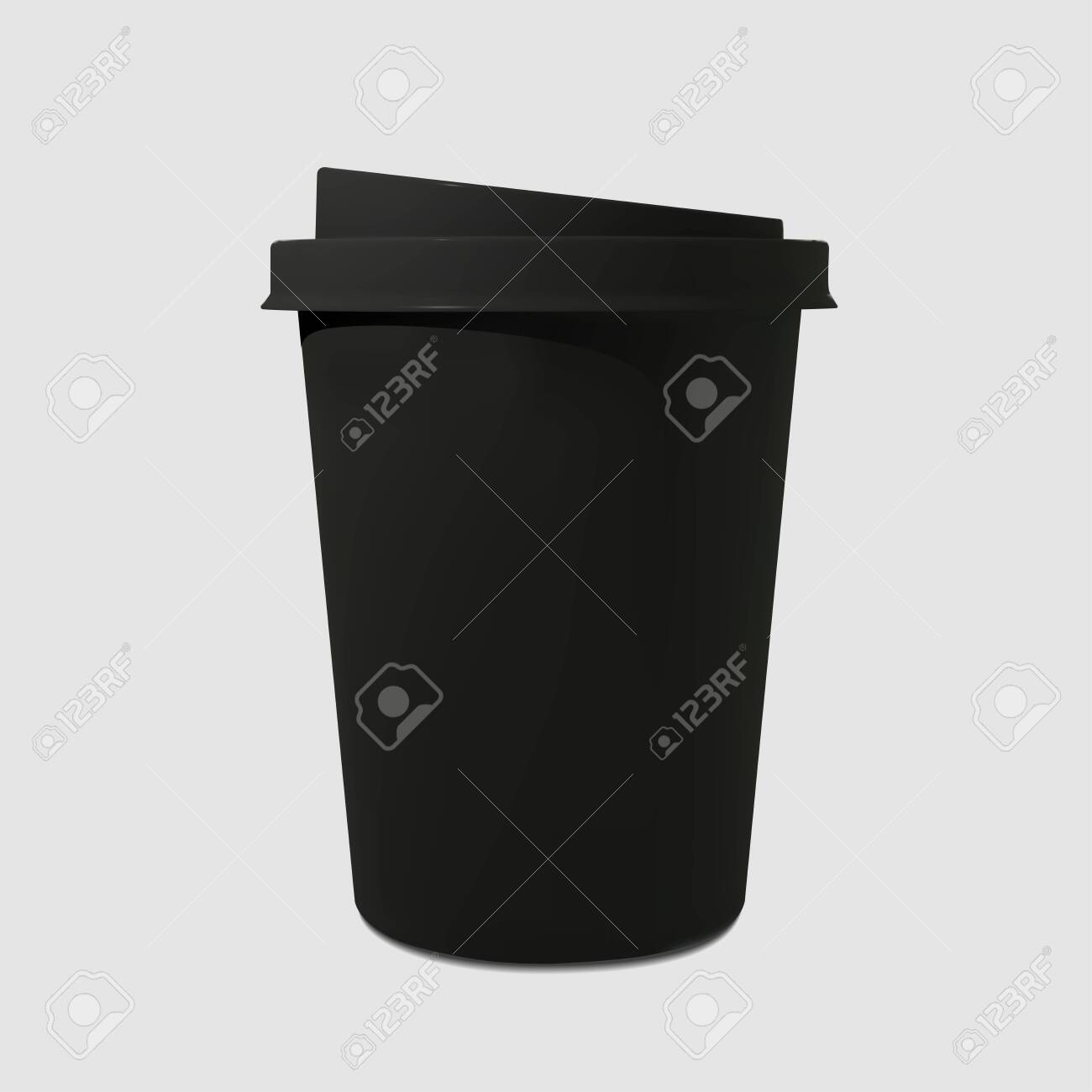 Paper realistic black coffee cup. Mockup coffee mugs. Disposable glass for drinks. Template for products, web banners and leaflets. Vector illustration - 144518990