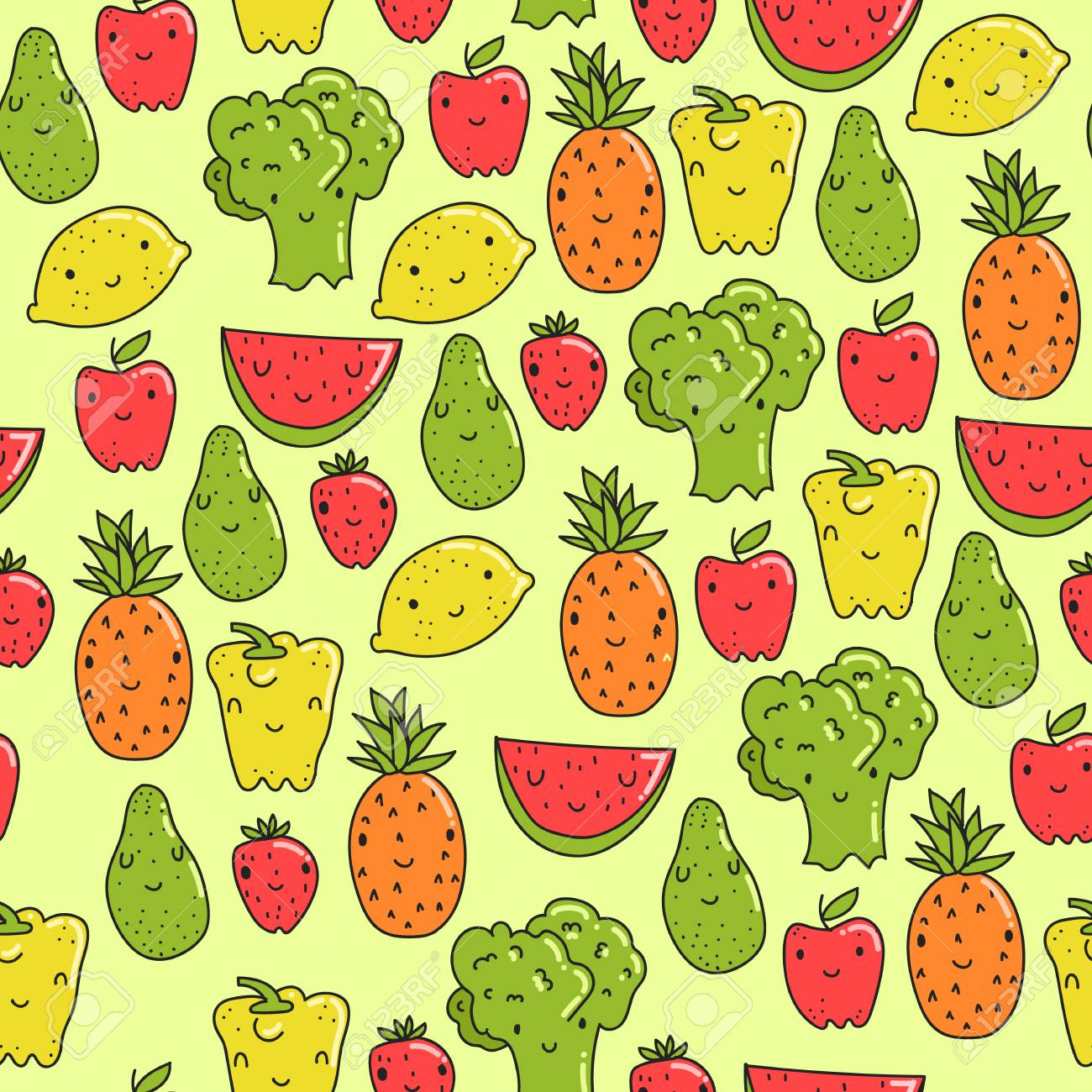 Vector Pattern With Healthy Food Smiling Colorful Wallpaper