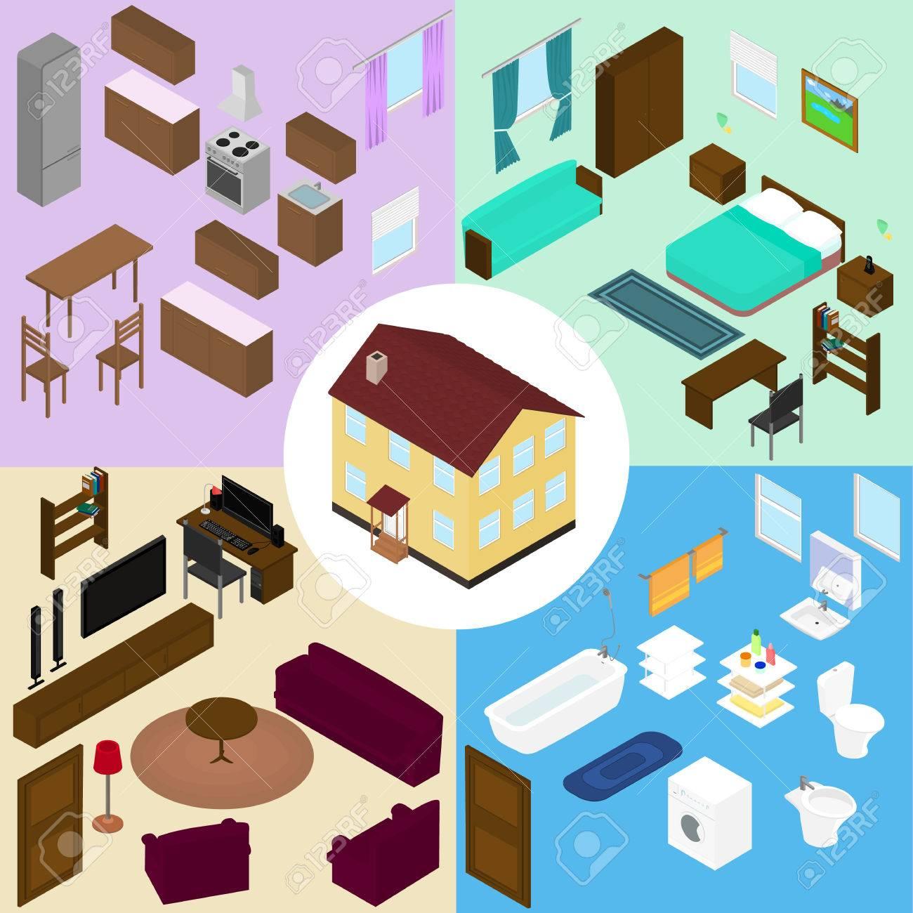 Conjunto de muebles isométrica. La casa, muebles de cocina, baño, salón,  dormitorio.