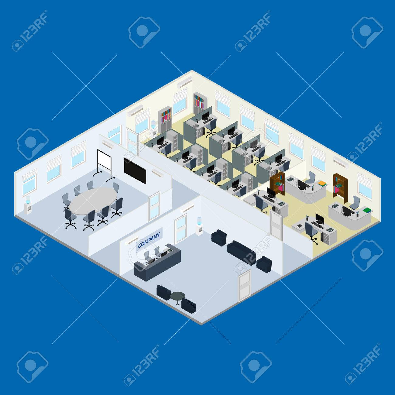 illustration. Office interior - reception, meeting room, open office space, room for management. isometric. - 53649869