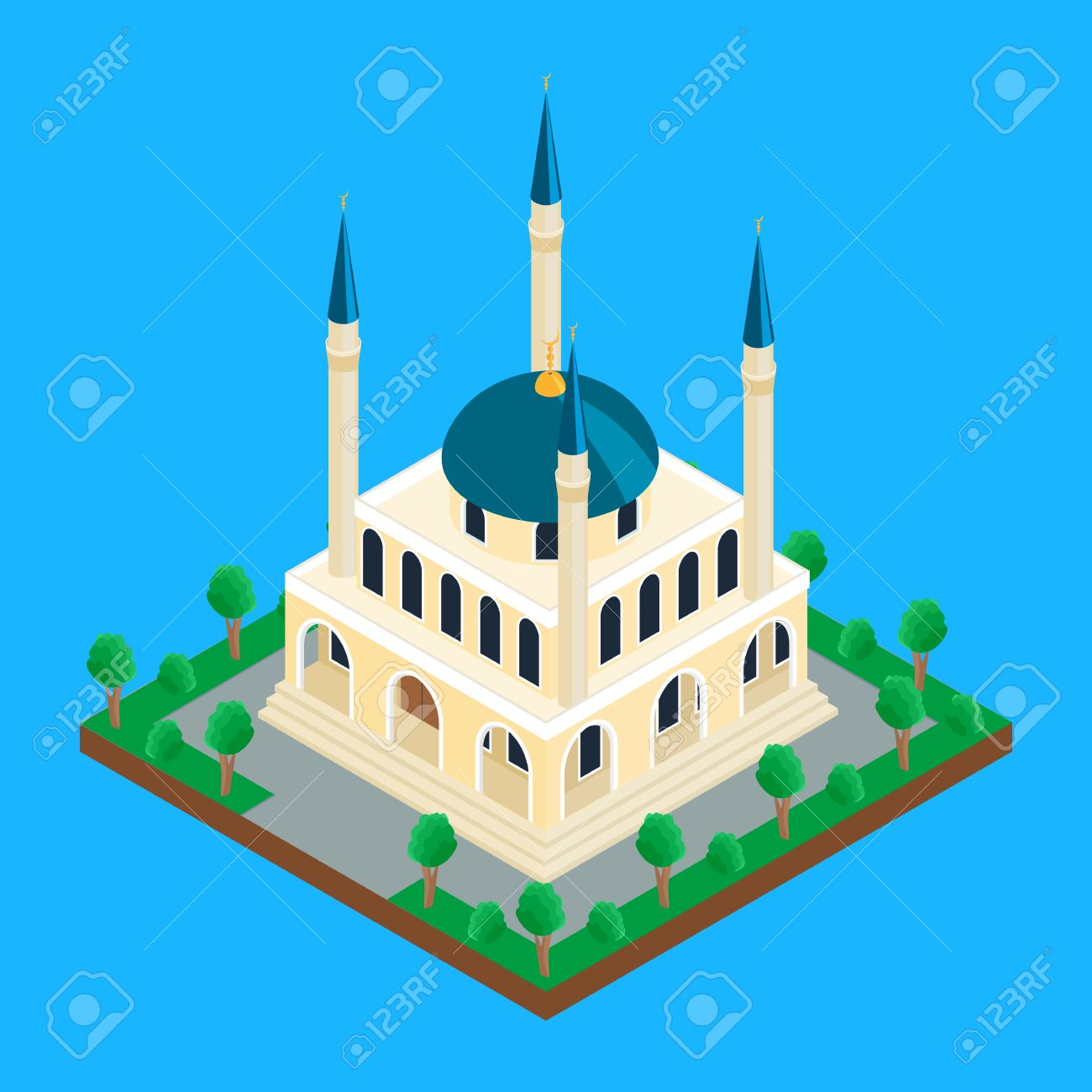 illustration  Islamic mosque with minaret towers  isometric,