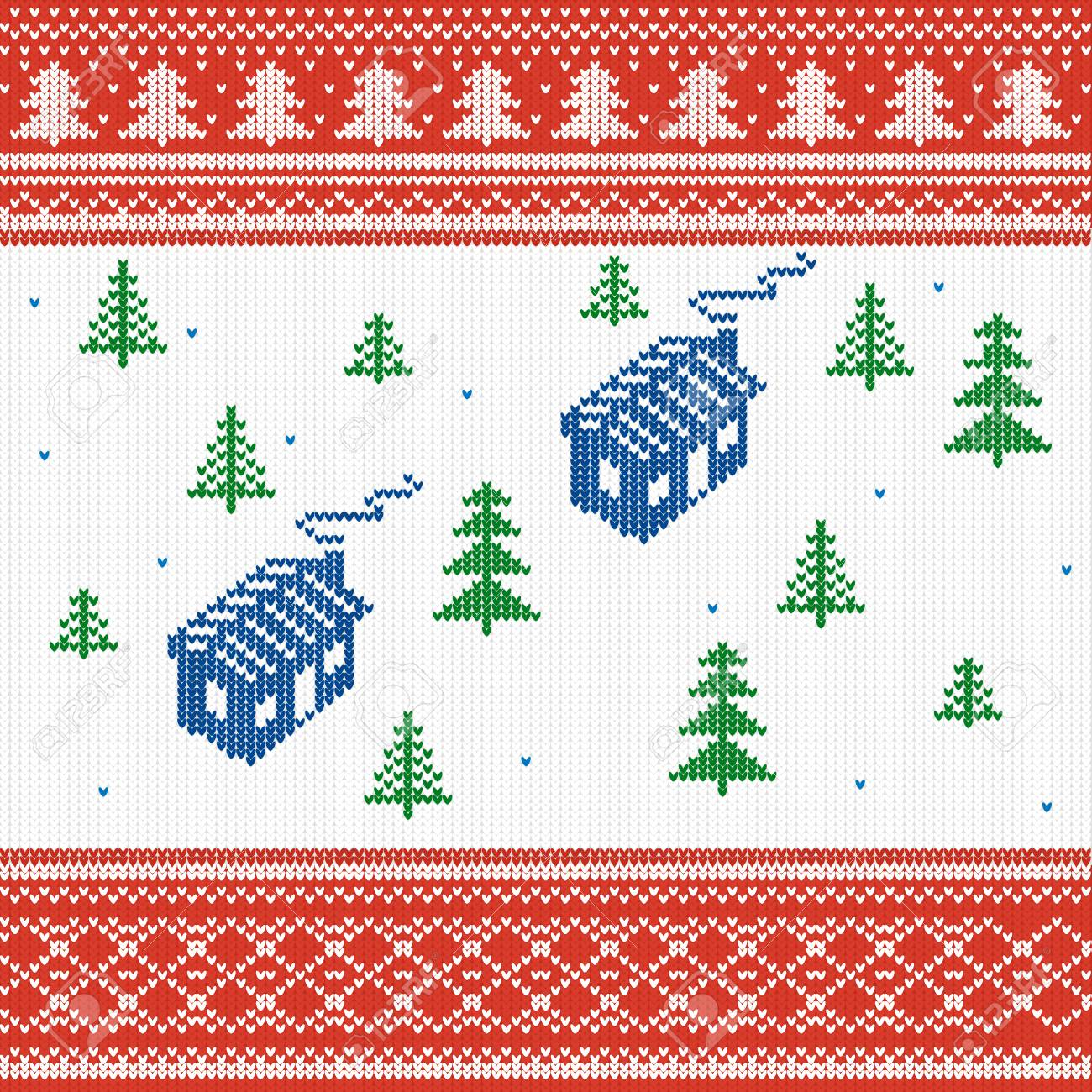 Vector Illustration. Knitted Texture, House With Christmas Trees ...