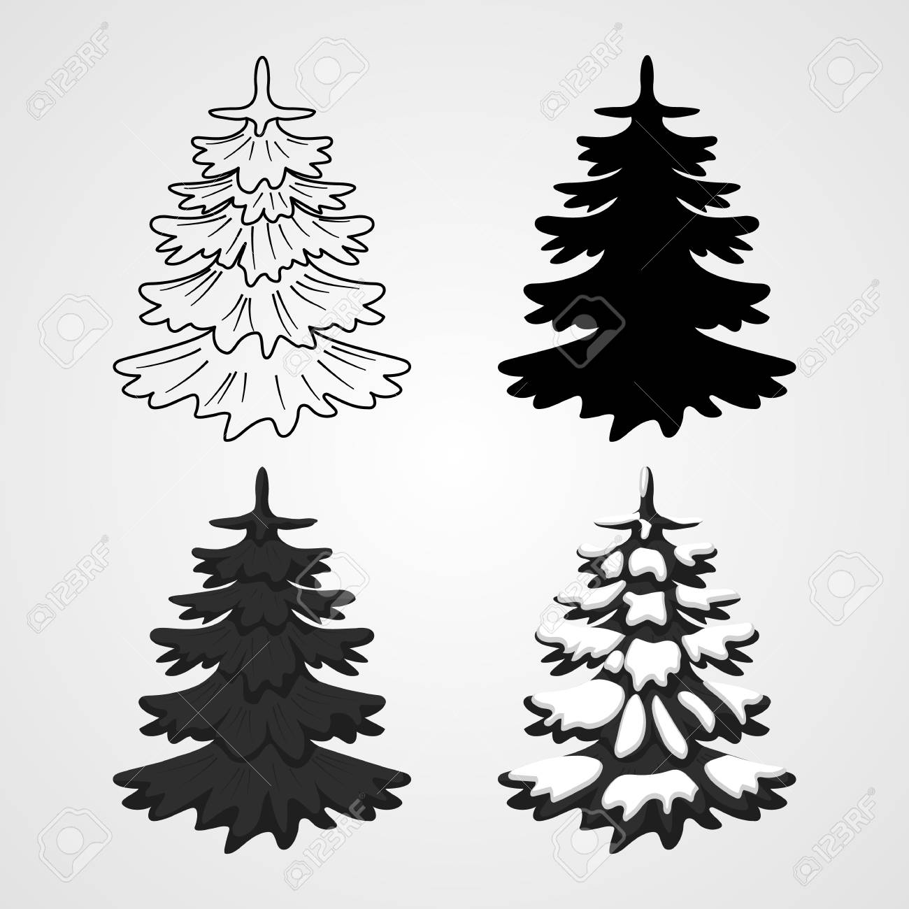 Illustration Set Icons Of Christmas Trees Contour Silhouette
