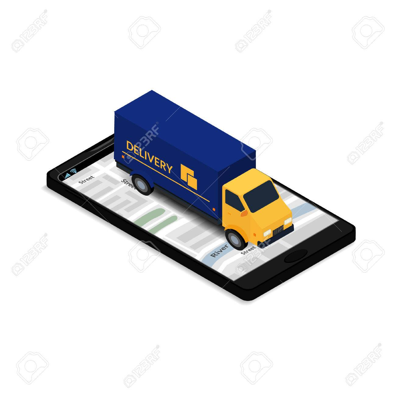 Vector illustration the truck on the mobile phone screen with design for commercial free fast shipping web banner brochure business card online tracking reheart Image collections