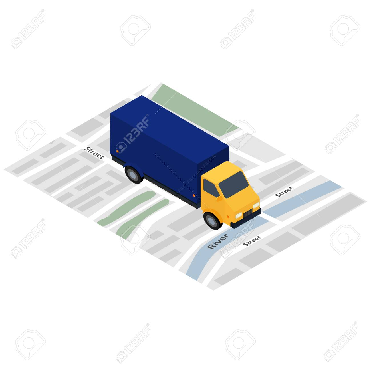 Vector Illustration. Icon. Truck On The City Map. Design For ...