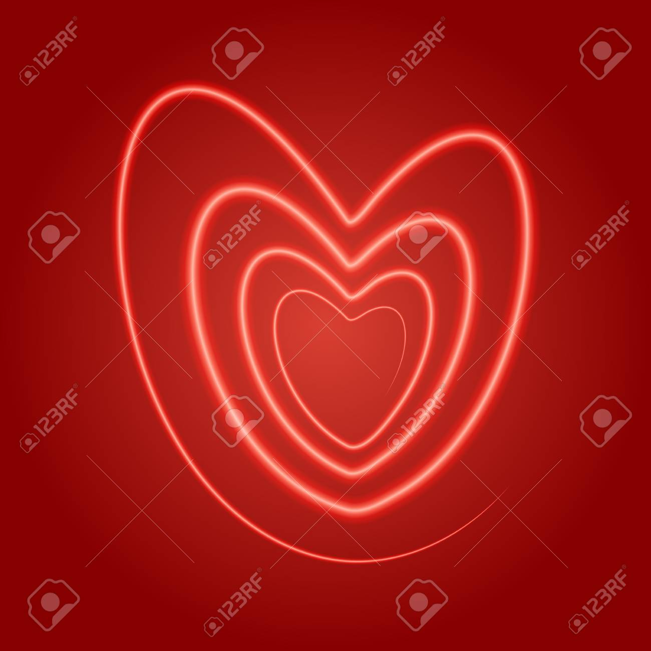 Vector Illustration Heart Spiral Of Lines On A Red Background